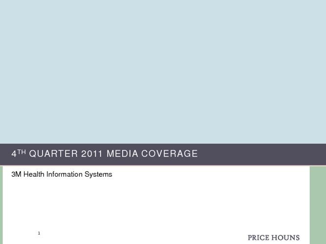 2011 4th Quarter Media Coverage