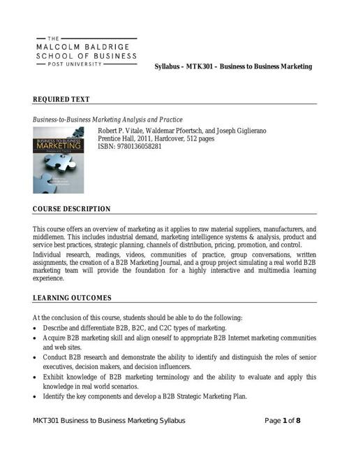 MKT301 Syllabus