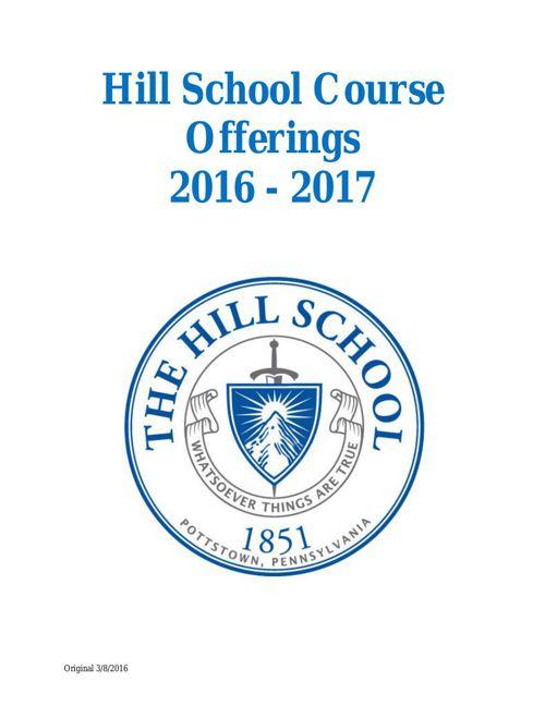 Hill School Course Offerings 2016-17