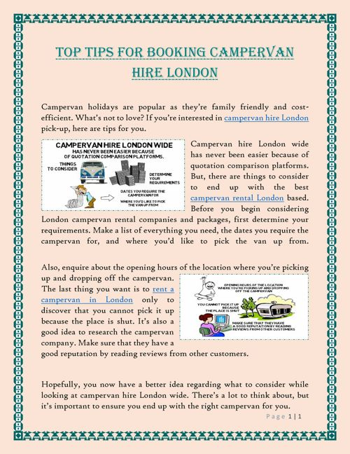 Top Tips For Booking Campervan Hire London