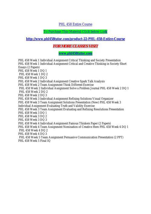 PHL 458 TUTOR Learn by Doing/phl458tutor.com
