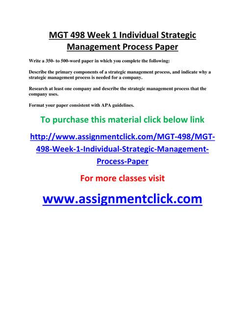 mgt 498 week 1 Mgt 498 week 1 individual assignment strategic planning and strategic management mgt 498 week 1 discussion question 1 mgt 498 week 1 discussion question 2 mgt 498 week 1 discussion question.
