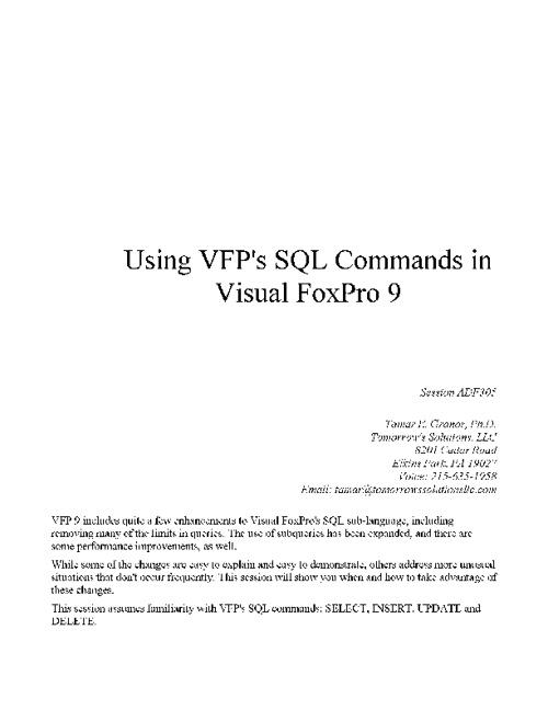 SQL in VFP 9