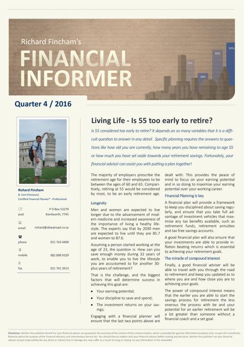 Richard Fincham's Financial Informer 4th Quarter 2016
