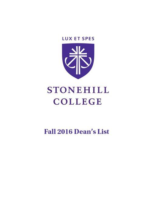 Stonehill College Fall 2016 Dean's List