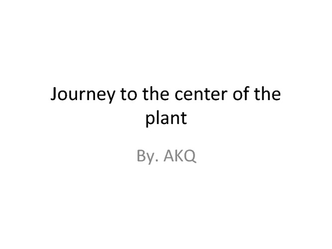 JOURNEY TO THE CENTER OF A PLANT