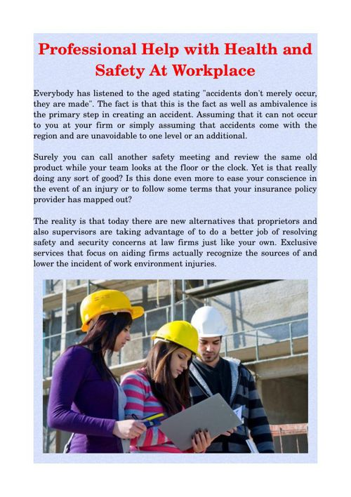 Professional Help with Health and Safety At Workplace