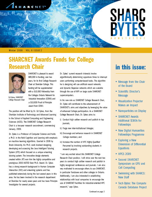 SHARCNET Winter Newsletter 2009