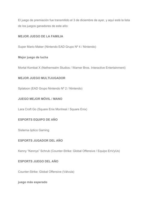 """[Es] List of the winners of """"Game Awards Show"""" 2015"""