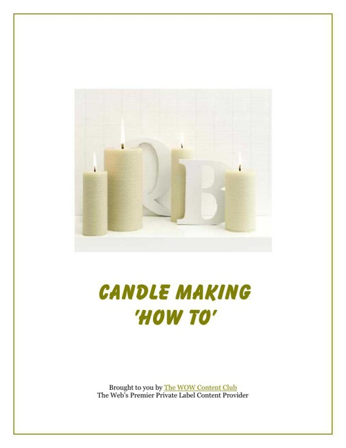 Candle Making How To