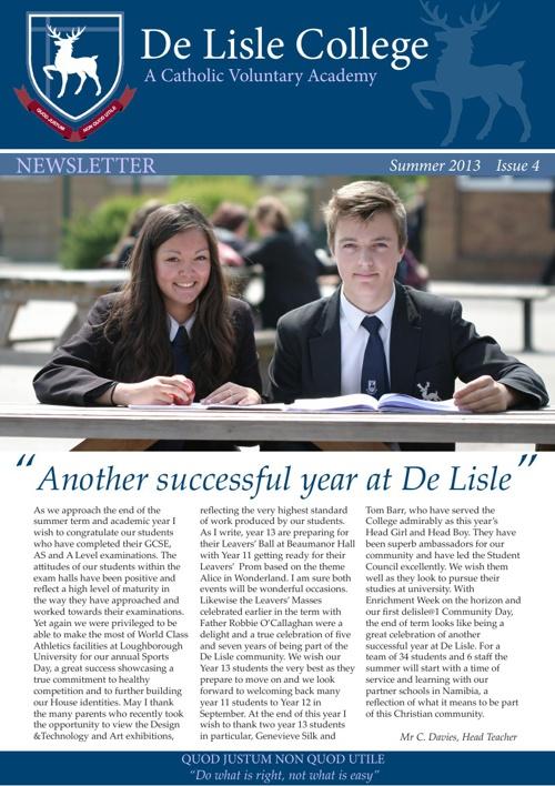 De Lisle College Newsletter Summer 2013