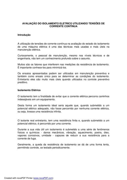 Avaliação do Isolamento + CONTATORES + ELETRÔNICA ANALÓGICA