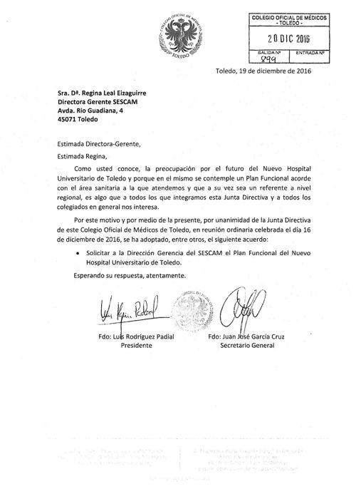 Carta a Directora Gerente SESCAM solicitando Plan Funcional Nuev