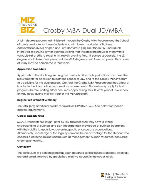 JD-MBA Dual Degree Information