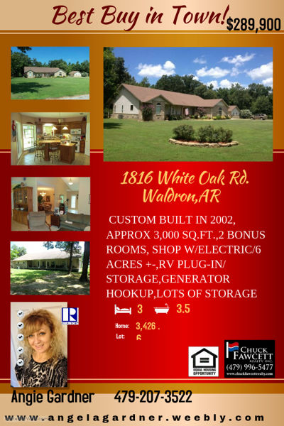 Home for sale!  1816 White Oak Rd-Waldron,Arkansas 72958
