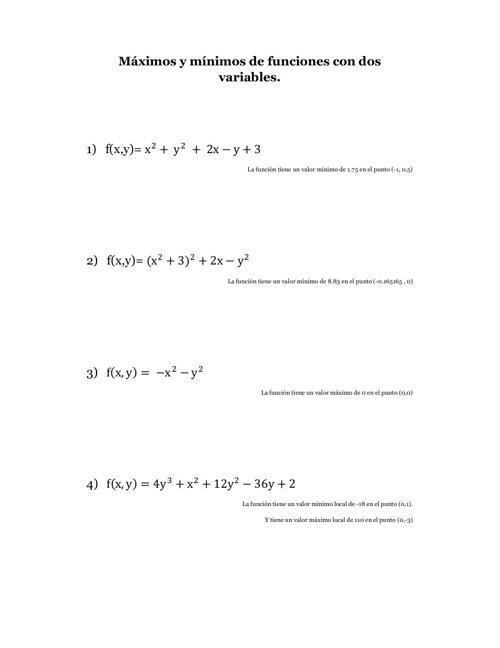 Optimización: Máximos y mínimos con funciones multivariable
