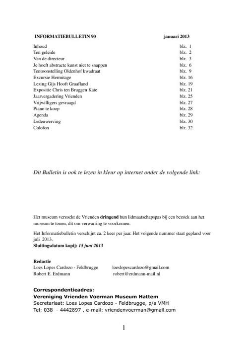 Bulletin Vrienden van Voerman Museum Hattem