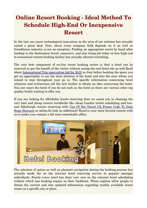 Online Resort Booking - Ideal Method To Schedule High-End Or Ine
