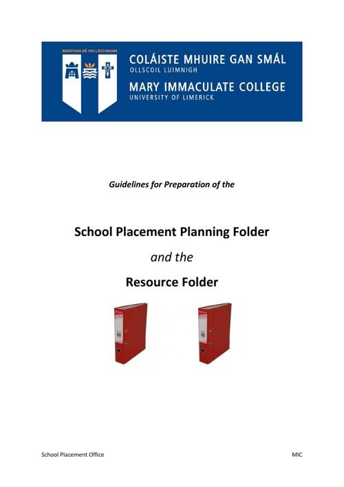 School Placement Folders