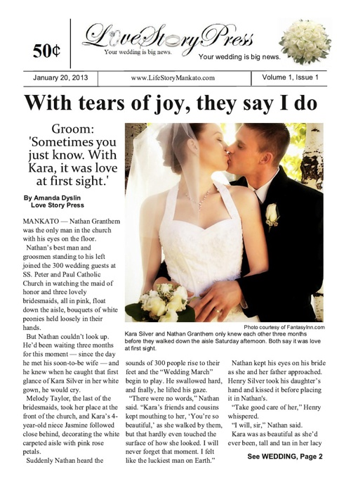 Four-page Wedding Sample
