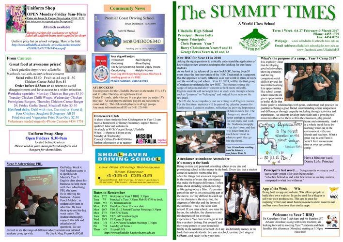 Week 6A Term 1 Summit Times 2017