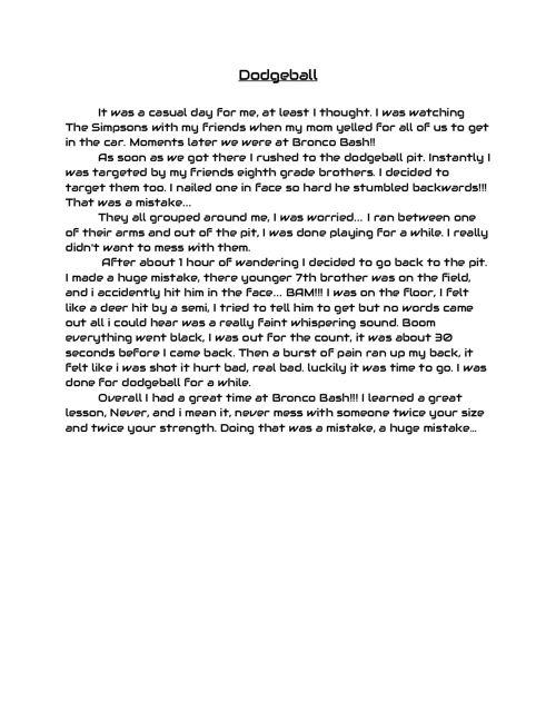 Middle School Diaries: Scott Moyer Writing Portfolio