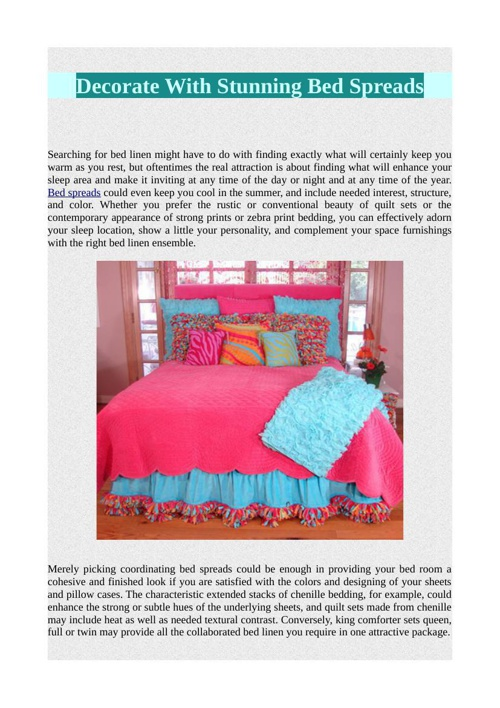 Decorate With Stunning Bed Spreads