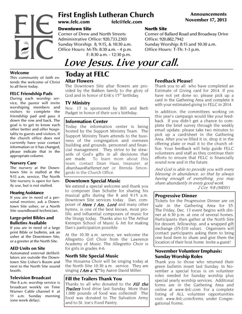 FELC Weekly Announcements for November 17, 2013
