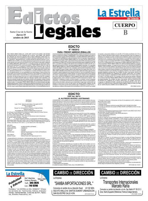 Judiciales 15 jueves - octubre 2015