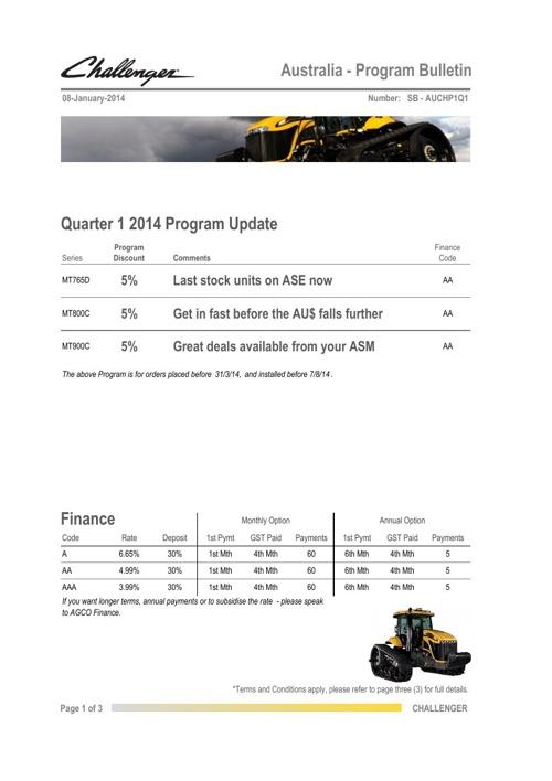 ACH14 Sales Programs                -SB - AUCHP1Q1