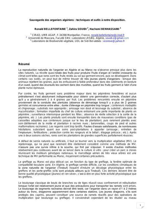 Travail de recherche scientifique sur l'arganier en Algérie et a