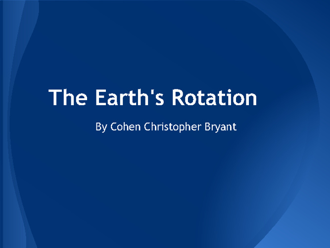 The Earth's Rotation