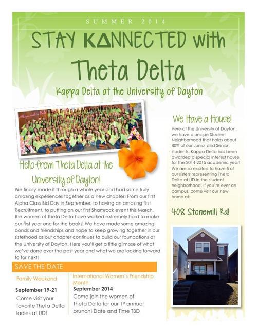 Spring 2014 Theta Delta Alumnae Newsletter