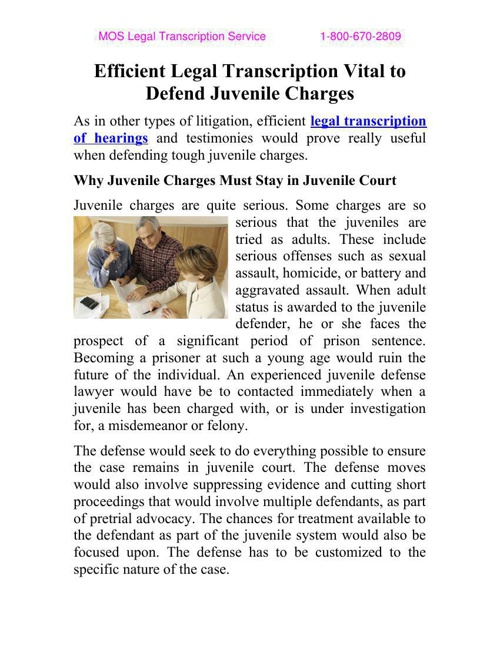 Efficient Legal Transcription Vital to Defend Juvenile Charges
