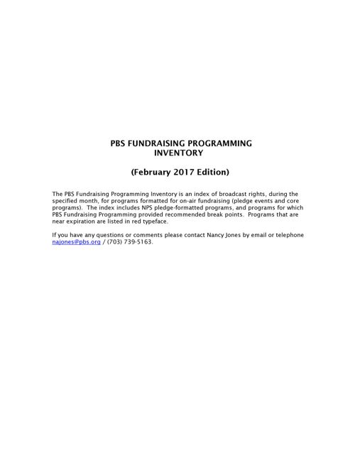 February 2017 Program Inventory