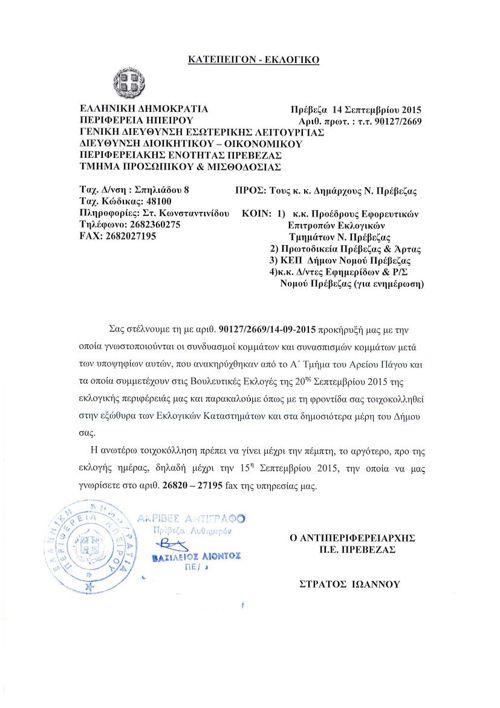 Συνδυασμοί Εκλογές Σεπτέμβριος 2015