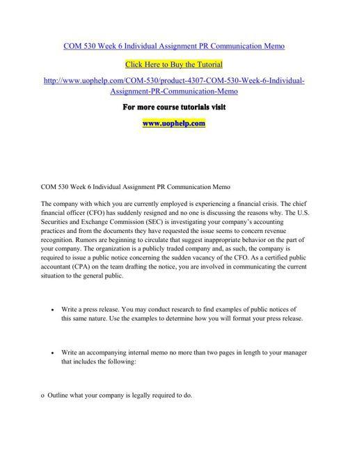 COM 530 Week 6 Individual Assignment PR Communication Memo