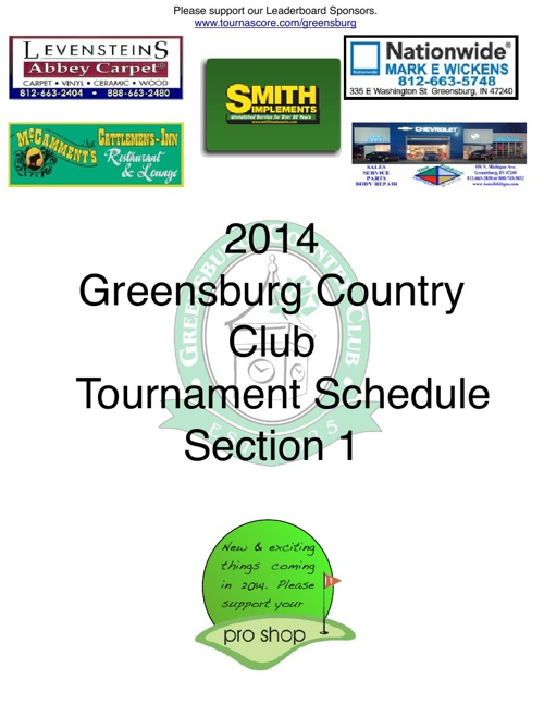 2014 Comprehensive Tournament Schedule, Section 1 - Overveiw