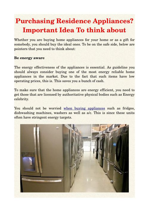 Purchasing Residence Appliances? Important Idea To think about