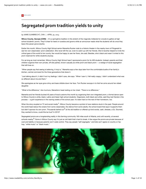 Segregated prom tradition yields to unity — www.cnn.com — Readab