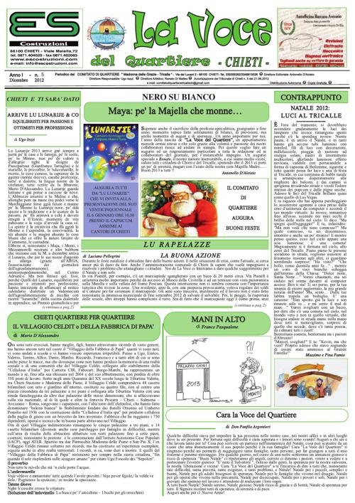 La Voce del Quartiere di Chieti - Dicembre 2012 Anno I n.5 -