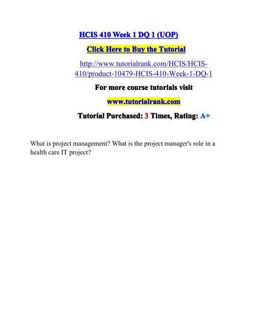 HCIS 410 Potential Instructors / tutorialrank.com