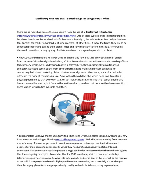 Establishing Your very own Telemarketing Firm using a Virtual Of