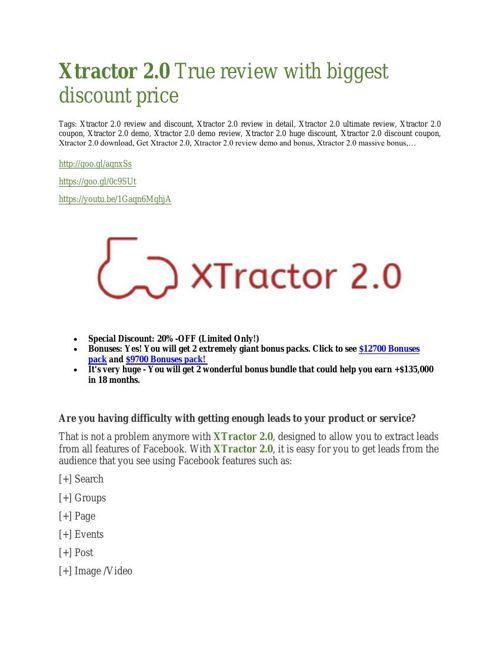 Xtractor 2.0 review & Xtractor 2.0 (Free) $26,700 bonuses