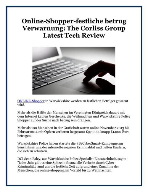 Online-Shopper-festliche betrug Verwarnung: The Corliss Group La