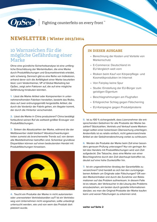 OpSec Winter Newsletter - German