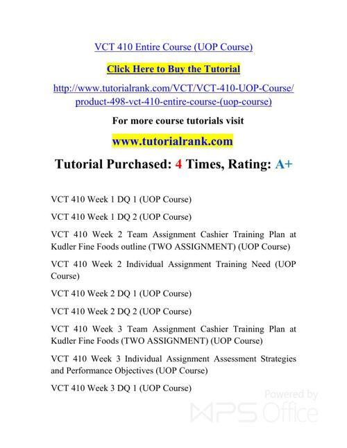 VCT 410 Potential Instructors / tutorialrank.com