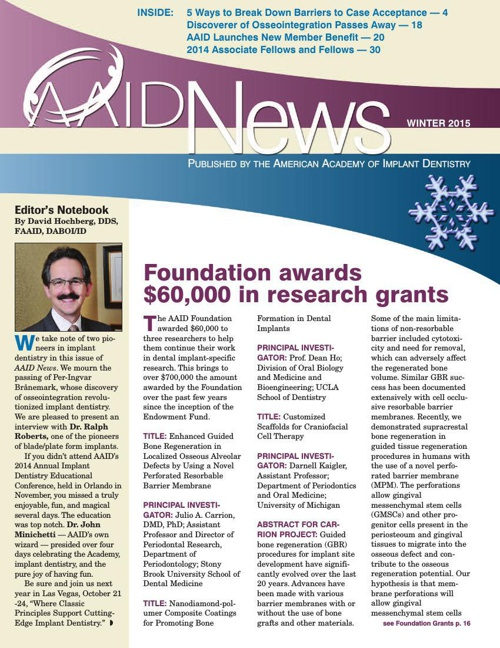 Winter 2015 AAID News for Dental Implant professionals