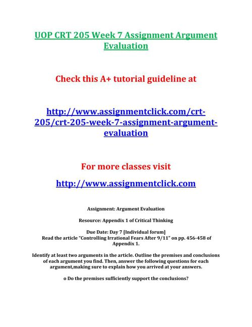 week 1 assignment crt 205 uop crt 205 week 1 assignment supporting a position check this a+ tutorial guideline at h.