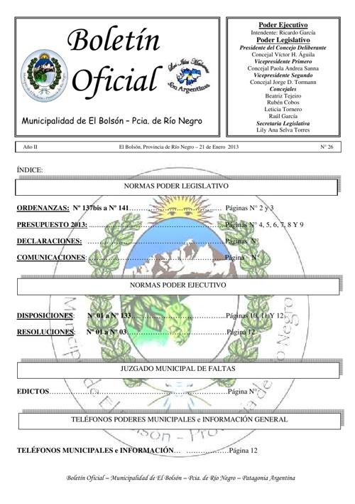 Boletín Oficial Nº 26 M.E.B.
